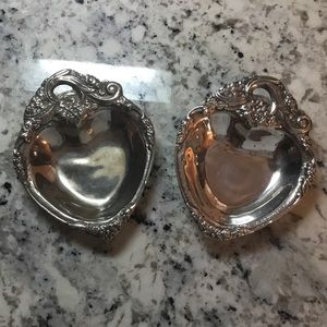Other - SET of 2 Heart Floral silver plate mini bowl/dish